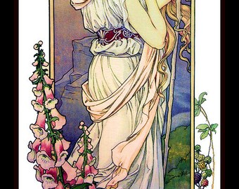 Art Nouveau Woman in the Fruit Garden Refrigerator Magnet -  FREE US SHIPPING