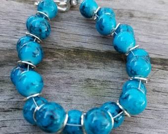 Off-set Bead Bracelet Blue