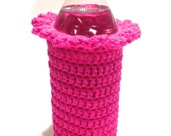 Hot Pink Crocheted 16.9 Ounce Water Bottle Cover