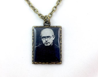 St. Maximilian Kolbe brass pendant medal necklace