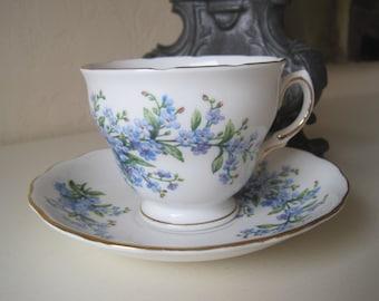 Ridgway Potteries England Royal Vale Lilac Vintage Teacup and Saucer Bone China