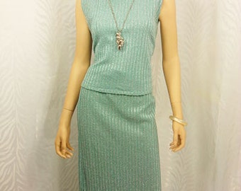 Celery/Silver Turtle Neck 2pc Skirt  Set