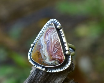 Size 7 Crazy Lace Agate Ring, Sterling Silver Setting with Handmade Details