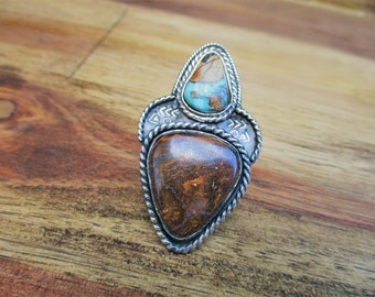 The Ring of Hekate / Royston Turquoise & Australian Boulder Opal Ring / Sterling Silver Ring / Artisan Turquoise Ring / Australian Opal