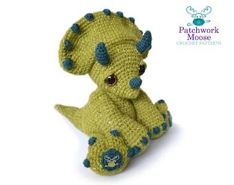Dinosaur Triceratops Amigurumi Crochet Pattern PDF Instant Download - Chester