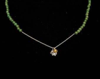 Adventurine Lotus Necklace