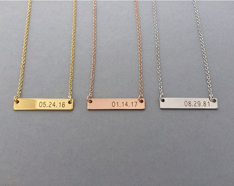 Date Necklace-Rose Gold Necklace-Personalized Gold Bar Necklace-Engraved Date-Personalized Necklace-Gift For Her-Valentines Gift