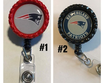 New England Patriots Nurse Retractable ID Badge Reel, badge holder, ID card holder, lanyard