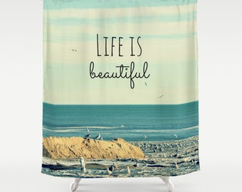 Fabric Shower Curtain  - Life is Beautiful - birds, beach, ocean, sea, wave, Original nature photography by RDelean Designs -