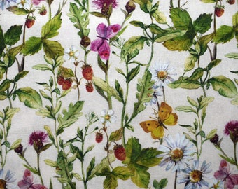 Floral fabric, floral quilting fabric, cotton fabric,  Strawberry fabric, spring flower fabric, butterfly fabric, floral curtain fabric