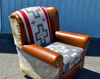 Wingback Leather Chair Rocking Swivel Chair Vintage Upcycled Upholstered Cowhide