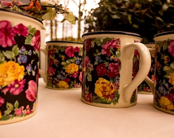 Set of Five Potpourri Press Floral Mugs 1989