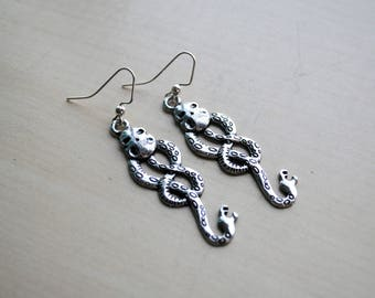 Dark Symbol Earrings -- Wizard Jewelry -- Geek Chic -- Nerd Fashion -- Fandom Fashion -- Skull -- Snake