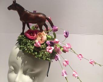Horse Fascinator- Derby Fascinator- Derby- Horse headband- Floral fascinator- Derby- Fascinator- Polo Classic Fascinator- Horse Show- Races