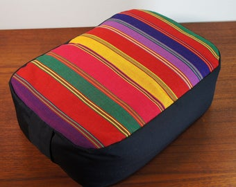 Organic Buckwheat hull Meditation Cushion with Hand Woven Fair Trade Guatemalan fabric top