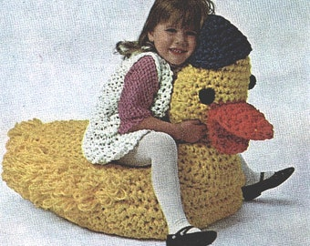 Children's Crocheted Stuffed Duck TV Seat Toy Chair Crocheting Pattern *PDF Instant Download*