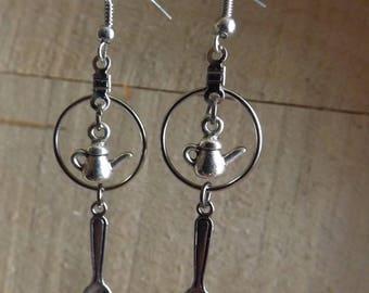 Silvertone Small Hoop Earrings w/Tea/Coffee Pot & dangleing spoons
