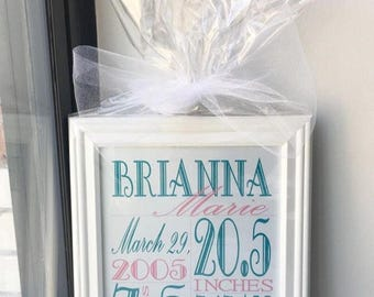 Birth Stat/Birth Announcement Frame - 8x10