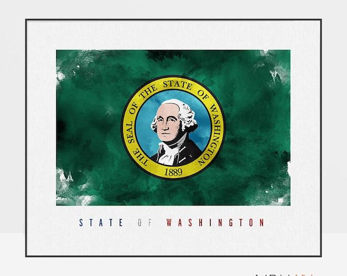 Washington state flag print, Wall art, Washington flag poster, United States flag, travel poster, gift, office decor, ArtPrintsVicky