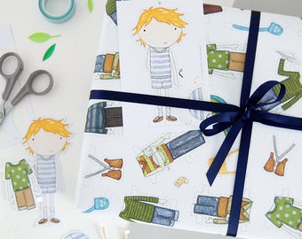 Colin Paper Doll Wrapping Paper Set - Dress Up Wrapping Paper - Colin Paper Doll Activity Gift Wrap - Children's Dress Up Toy
