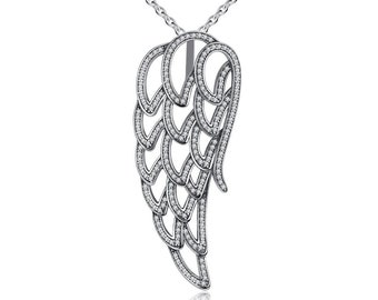 Angel Wing Pendant Necklace, Silver Fashion Jewellery