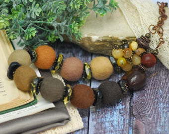 Felted necklace Brown felted necklace Felt wool necklace Gift for her Organic jewelry Merino wool necklace needle felted wool sustainable