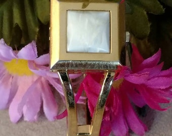 Closed Face Wristwatch, Ladies Bangle, Gold Tone, Latches, Square Top Accent, Faux MOP Design, FREE SHIPPING