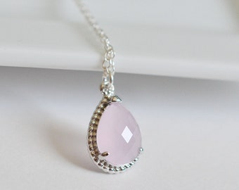 Bridesmaid Jewelry Ice Pink Blush Pink Teardrop Silver Necklace
