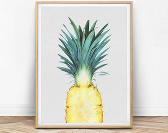 Pineapple Print, Pineapple Wall Art, Pineapple Decor, Pineapple Printable, Pineapple Photo, Summer Decor, Tropical Fruit, Kitchen Print, F01