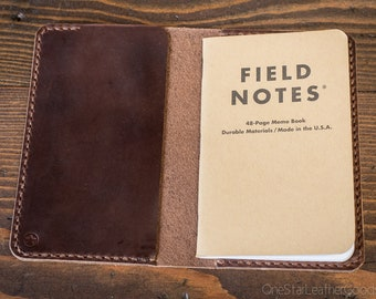 "Notebook cover, 3.5 x 5.5"", Field Notes cover - brown Horween Dublin leather"