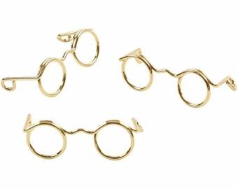 Mini Novelty Glasses - Dolls Spectacles Eyes - Gold Colour 25mm 35mm 50mm 60mm
