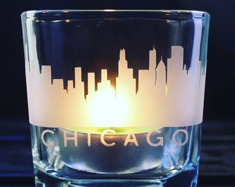 Chicago Skyline Candle Holder - Chi Town - Illinois - City Scape - Home Decor