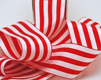 Wide Solid Stripe Ribbon -- 2 inches -- Red and White -- 2 yards