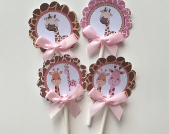 Giraffe  cupcake toppers/Giraffe baby shower cupcake toppers/Giraffe theme/ Cupcake toppers