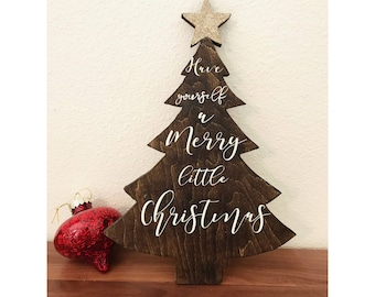 Christmas tree sign hand painted christmas tree decoration have yourself a merry little christmas sign christmas tree wood sign rustic christmas tree solutioingenieria Choice Image