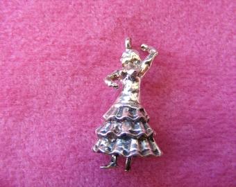 J) Vintage Sterling Silver Charm Spanish Flamenco dancer
