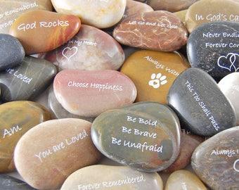 Engraved River Rocks - Inspirational Sayings - Set of 60- FREE US SHIPPING