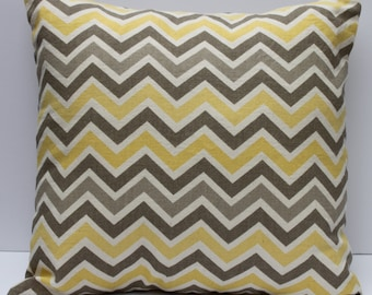 Zig Zag Pillow Cover- Yellow Multi-Colored Decorative Couch Pillow 16x16- Ready to Ship