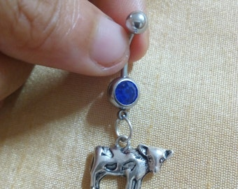 Cow Dangle Belly Ring, Custom Belly Ring, Charm Belly Ring, Customized Navel Barbell, 14g Belly Ring, Navel Bar, Body Jewelry