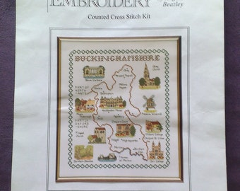 The English County of Buckinghamshire Sampler - Cross Stitch Kit  - by Classic Embroidery