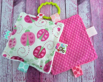 Baby Girl Toys, crinkle toy set, personalized,  Love Bugs and hearts,  teething toys, crinkle sounds that babies and moms love.