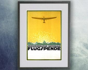 Flugspende Vintage Aviation Poster Print