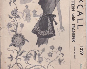 1940's Sewing Pattern - McCalls No 1239  Womens Apron,  No Printed Transfers -  One Size UnCut Factory Folded.