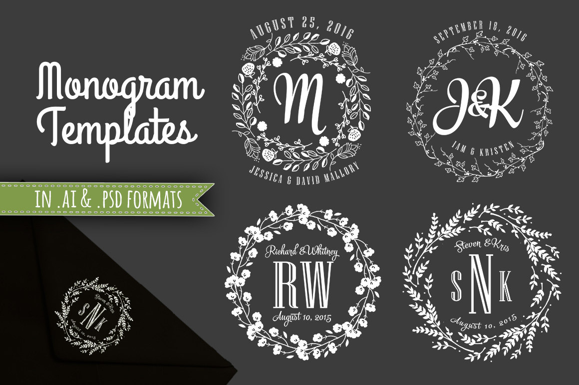 Wedding Monogram Templates Wedding Initials Decorative