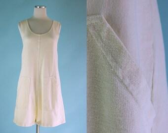 1990s Ivory Off White Shorts Jumpsuit Romper // 90s Ecru Cotton Summer Jumpsuit Shorts