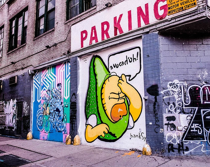 "New York City, Photography, Street Photography, Homer Simpson, Print of New York City Graffiti Street Art ""Avocad'oh!"""