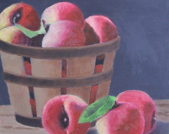Peaches in a Basket,  oil painting on Gesso Board, 6 x 6 inches