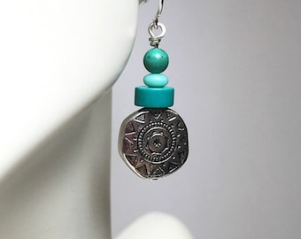 Sterling and Turquoise Beaded Earrings