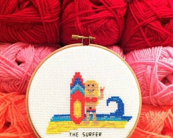 Completed needlepoint. Framed needlepoint surfer. Custom Cross Stitch portrait. Gift for surfer