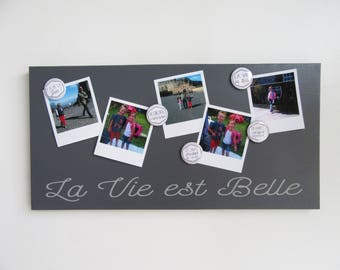 Magnetic memory 25 x 50 dark grey and light grey - life is beautiful